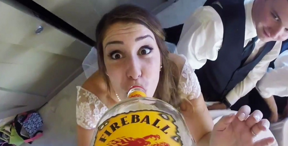 GoPro Attached to a Bottle of Fireball at a Wedding.