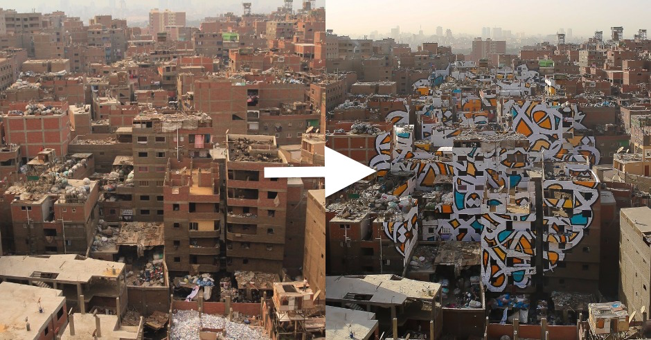 Tunisian-French artist eL Seed creates beautiful mural in Cairo spanning across 50 buildings