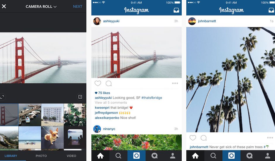 Instagram is no longer squares only, now has portrait/landscape options