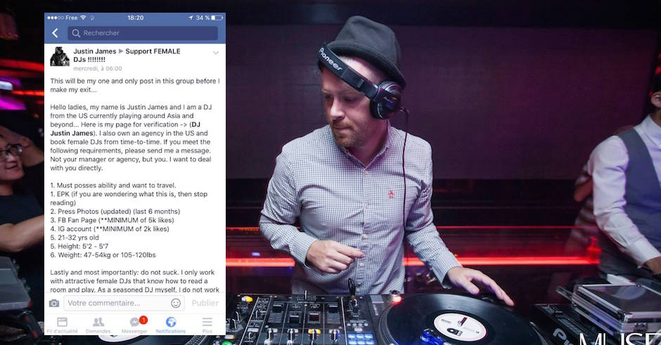 Meet DJ Justin James, on the hunt for female DJs - as long as they meet very specific requirements