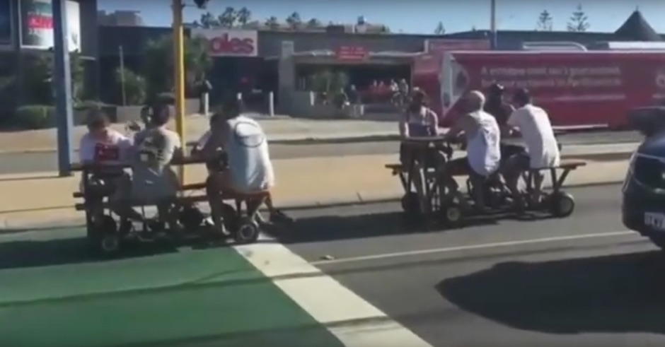 Perth dudes having a few quiet ones on motorised picnic tables capture the hearts of a nation