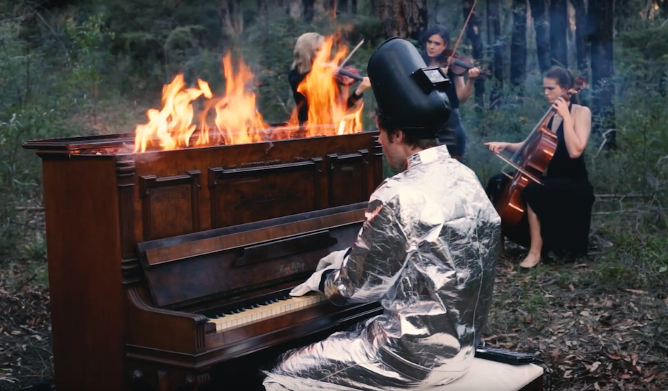 Premiere: Pluto Jonze plays on a burning piano for I'll Try Anything's video clip