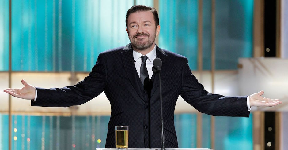 Ricky Gervais takes aim at Hollywood in Golden Globes monologue