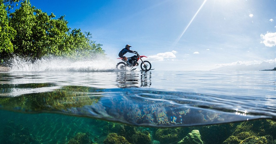 Robbie Maddison rides a motorcross bike at Teahupoo because awesome