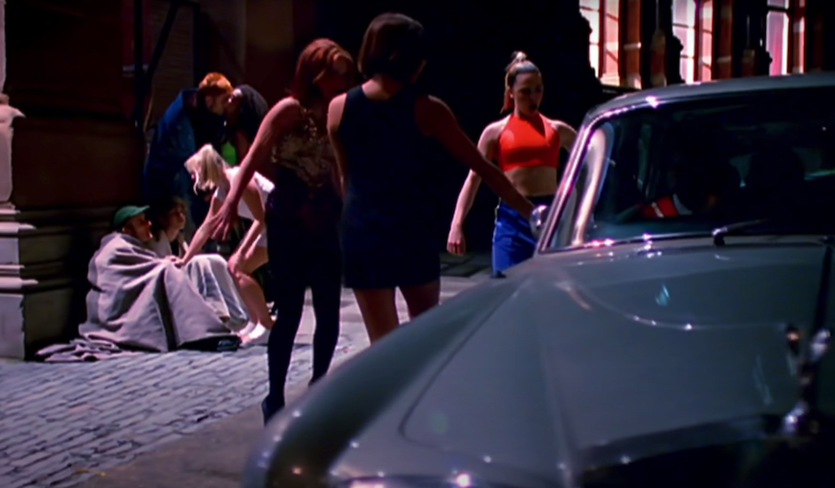Never forget The Spice Girls harassing a homeless man in the 'Wannabe' video